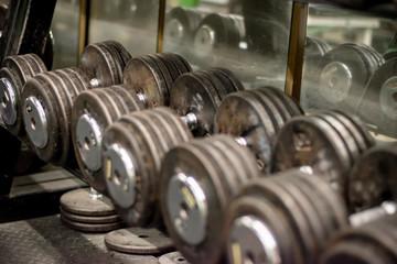 Deurstickers Fitness hand weights
