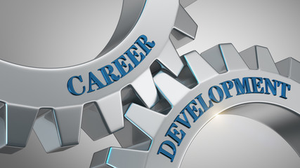 Career development concept. Words career development written on gear wheels.