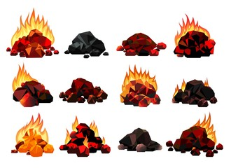 Burning coal set