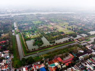 Aerial view of the Hue Citadel in Vietnam. Imperial Palace moat,Emperor palace complex, Hue Province, Vietnam Wall mural