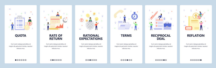Mobile app onboarding screens. Business charts, brainstorm, office icons, people. Menu vector banner template for website and mobile development. Web site design flat illustration