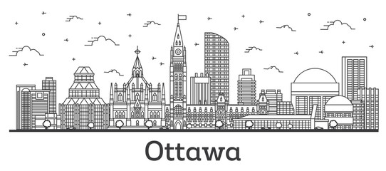 Fototapete - Outline Ottawa Canada City Skyline with Modern Buildings Isolated on White. Vector Illustration. Ottawa Cityscape with Landmarks.