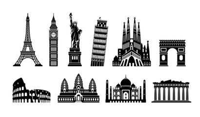 World famous buildings monochrome vector illustration set ( world heritage ) / Statue of liberty, Eiffel tower etc. Fotomurales