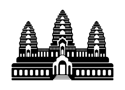 Angkor Wat - Cambodia / World famous buildings monochrome vector illustration.
