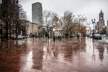 rainy day in city of boston massachusetts Fotobehang