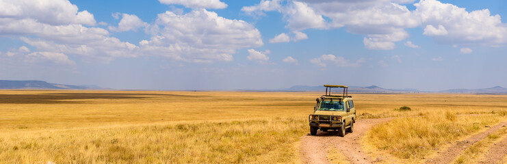 Spoed Fotobehang Honing Safari tourists on game drive with Jeep car in Serengeti National Park in beautiful landscape scenery, Tanzania, Africa
