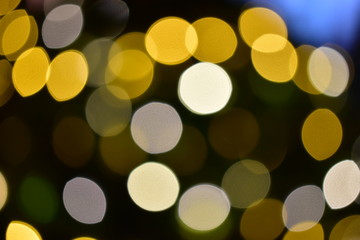 Abstract Gold  bokeh Lights, Christmas background.