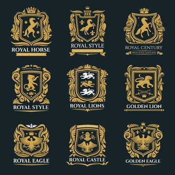 Heraldic animals, royal heraldry emblems, Pegasus horse, Griffin lion and Medieval eagle icons. Vector imperial heraldic shields and coat of arms, gryphon and griffon with golden royal crown