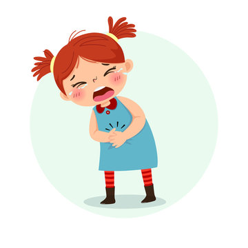 Vector illustration of little girl suffering from stomachache. Health Problems concept.