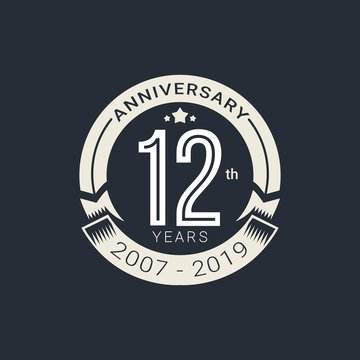 Anniversary white badge 12 Years with white style Vector Illustration