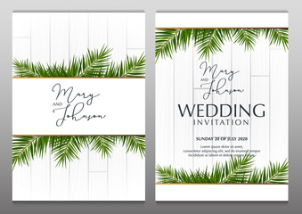 Wall Mural - Double Wedding Invitation with palms on the white wooden background.