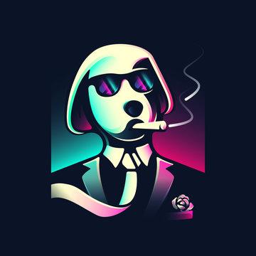 mobster dog smokes a cigar