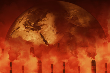 Earth attacked by greenhouse effect air pollution causes of global warming crisis danger of factory smoke to air environment concept.