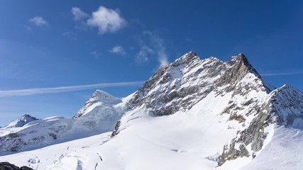 Wall Mural - Time lapse video of Jungfrau with blue nice sky in Switzerland