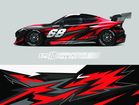 Car wrap design vector. Abstract stripe racing background kit for wrap all vehicle, race car, rally, adventure and livery. Full vector eps 10
