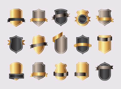 Shield blank gold emblems. Heraldic shields, security black labels. Knight award, medieval royal vintage badges isolated vector.