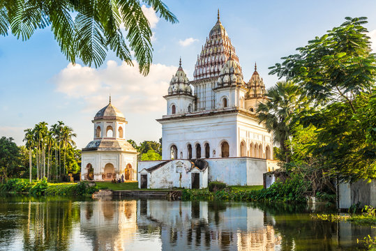 View at the Siva Temple and Roth Mondir buildings in Puthia - Bangladesh