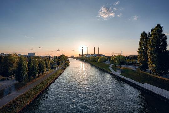 The city of Wolfsburg at sunset
