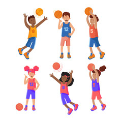 Set of girls and boys plays basketball. Basketball player. Child playing with a ball. Colorful cartoon illustration in flat vector. Sports team games. Lifestyle. Games with the ball.