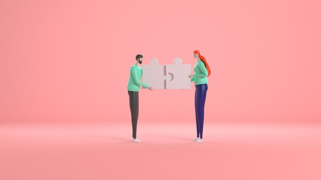Person people man and woman connect jigsaw business puzzle. Cooperation businessman teamwork team. 3d rendering