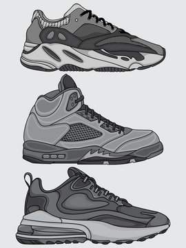 set of sneakers design vectors