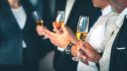 Group of business people holding champagne glasses during a party.