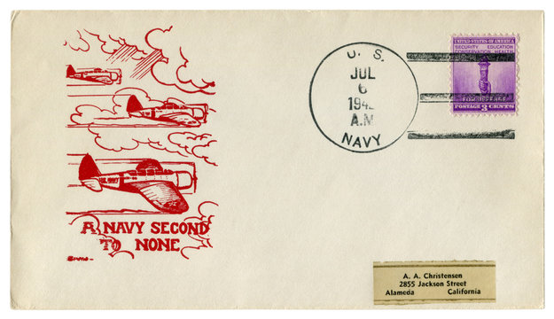 The USA - 6 July 1942: US historical envelope: cover with a cachet A navy second to none, military aircraft in the clouds, for defense postage stamp
