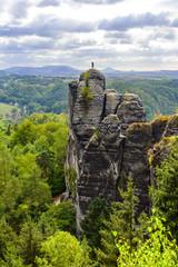 Fotobehang Zalm Bastei Rocks in Swiss Saxony, beautiful landscape scenery around the ruins of Neurathen Castle, Elbe Sandstone Mountains in Saxon Switzerland, Germany, Europe.