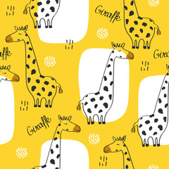 Door stickers Bestsellers Kids Giraffes, english text, hand drawn backdrop. Colorful seamless pattern with animals. Decorative cute wallpaper, good for printing. Overlapping background vector. Design illustration