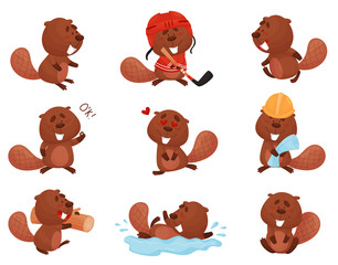 Cute Funny Beaver Character in Different Actions Vector Set