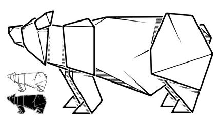 Image of paper bear origami (contour drawing).