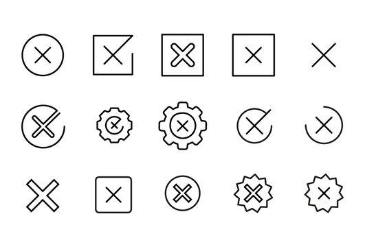 Icon set of cross.