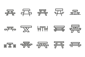Stroke line icons set of picnic table.