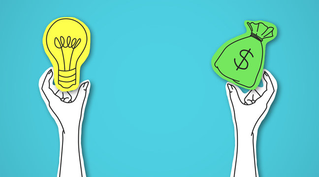 One hand holding green bag with money, other light bulb