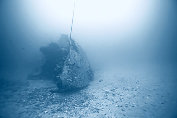 Tuinposter Schipbreuk shipwreck, diving on a sunken ship, underwater landscape