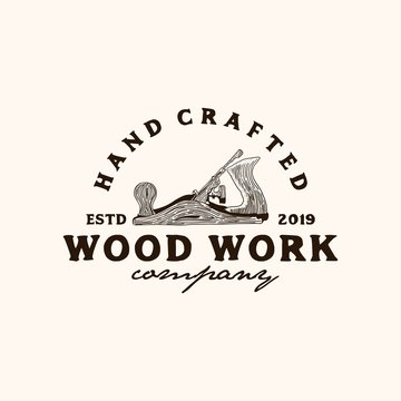 wood shaving tool,carpenter.wood work logo design template.Retro Vintage Woodworking Wood Fore Plane / Jack Plane Logo design