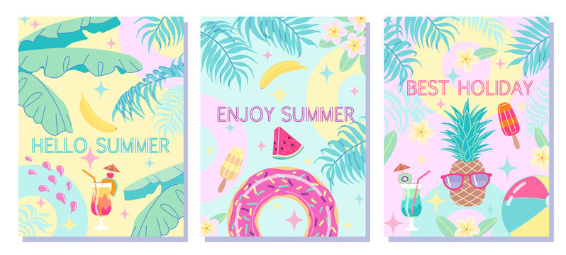 Colorful Summer Backgrounds Banner Set