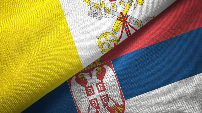 Vatican and Serbia two flags textile cloth, fabric texture