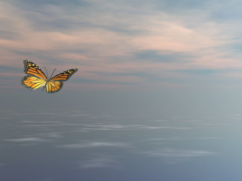 Single monarch butterfly flying upon the ocean - 3D render