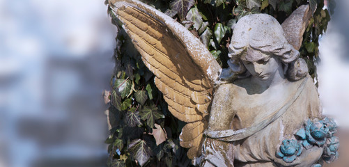 Fotomurales - Vintage image of a beautiful angel against the background of winter background. Antique statue.