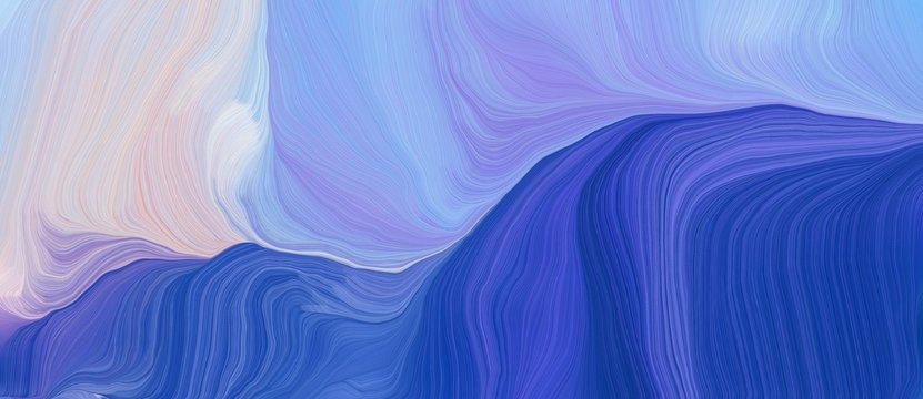 colorful horizontal banner. modern soft swirl waves background design with strong blue, light gray and light pastel purple color