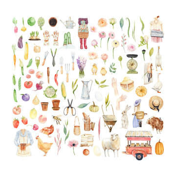 Large watercolor set with garden supplies and objects: girls, flowers, vegetables, fruits, plants, animals, birds, garden tools.