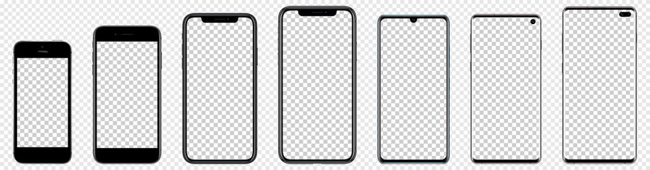 Realistic mockups popular phones with blank screens for your design. Blank backgroud. Vector graphic EPS10