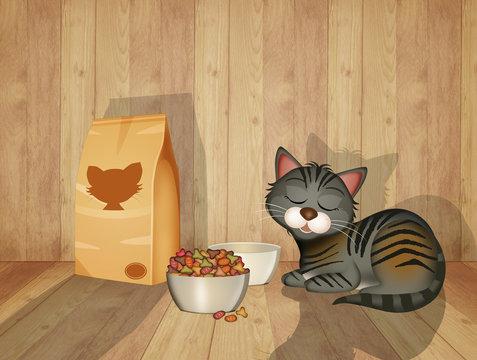 cat eats croquettes