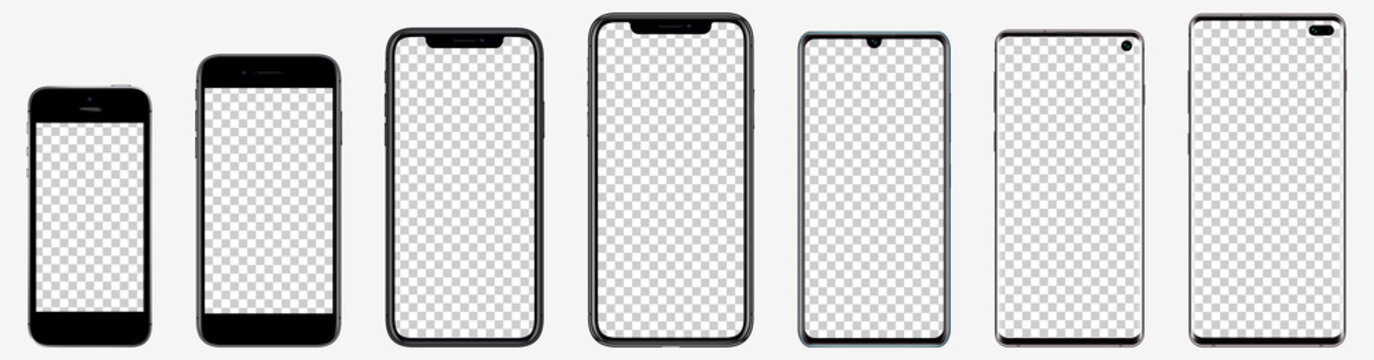 Realistic mockups popular phones with blank screens for your design. Vector graphic EPS 10