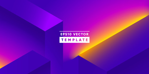 Neon lights geometric background. Isometric shapes composition. Eps10 vector.