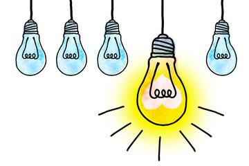 1つだけ光る電球(集団の中の成功者のイメージ)