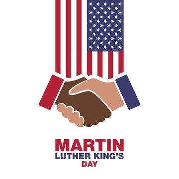 Martin Luther King Day, handshake in honor modern design illustration.