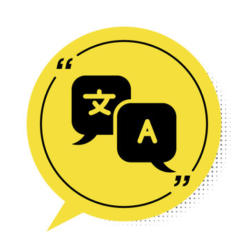 Black Translator icon isolated on white background. Foreign language conversation icons in chat speech bubble. Translating concept. Yellow speech bubble symbol. Vector Illustration
