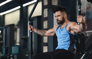 Wall Mural - Sporty guy exercising on training apparatus at gym